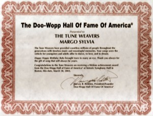 Doo-Wopp Hall of Fame Plaque for Margo